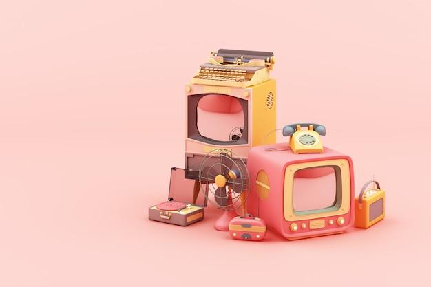 Vecchia televisione nel colore rosa e vecchia radio dello scrittore della roba nella rappresentazione variopinta di tono pastello 3d