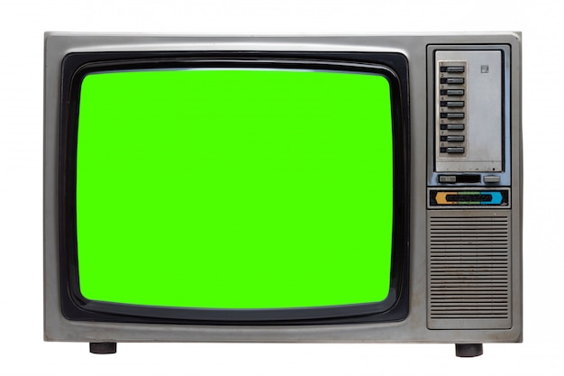 Vecchia tv retrò con schermo verde isolato su bianco