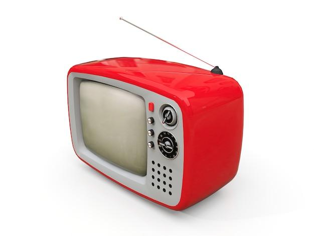 Vecchia tv rossa sveglia con l'antenna su una priorità bassa bianca. illustrazione 3d