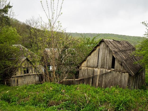 Vecchie capanne di legno nel bosco. case di legno distrutte. situazione critica