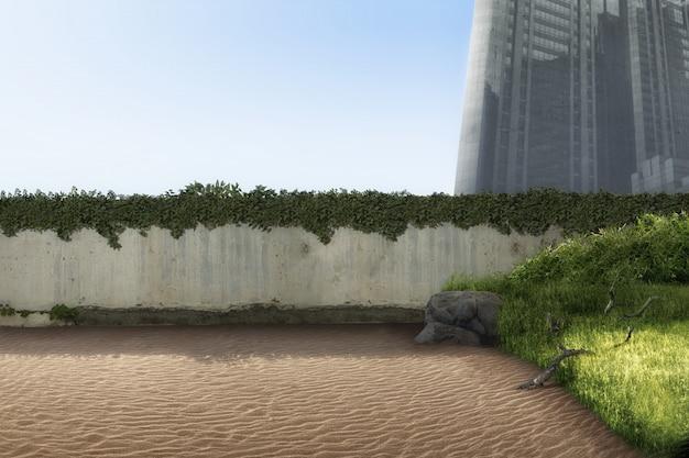 Vecchie rovine della parete sulla città abbandonata