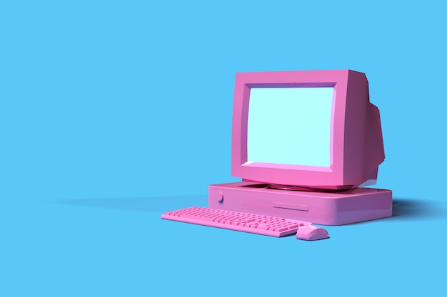 Vecchio desktop rosa d'annata del computer su fondo blu