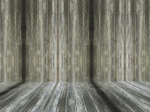 Vecchio interiore di legno della stanza 3d