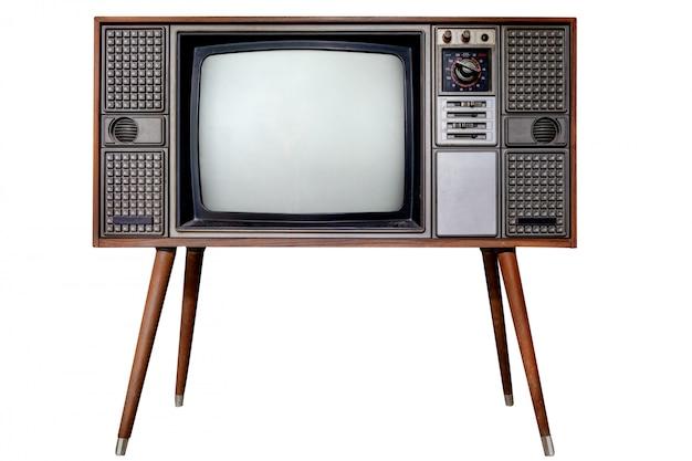 Vecchio isolato della tv su bianco con il percorso di ritaglio