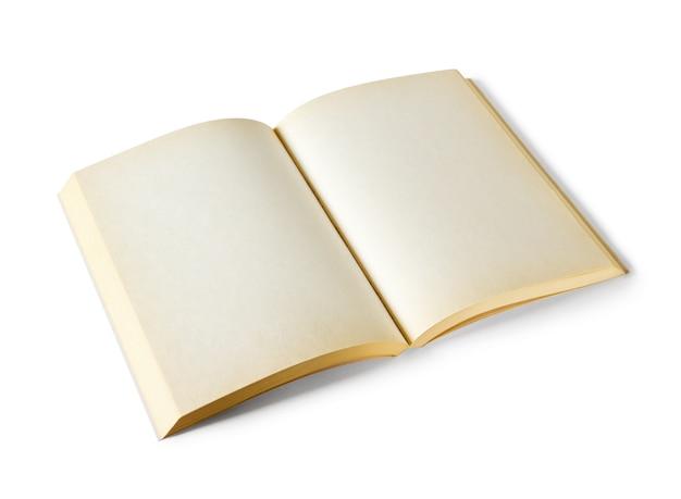 Vecchio libro in bianco aperto isolato su bianco