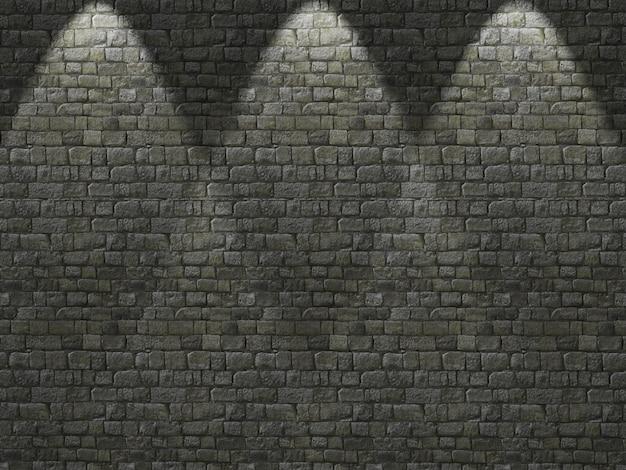 Vecchio muro di mattoni 3d con i riflettori che brillano giù