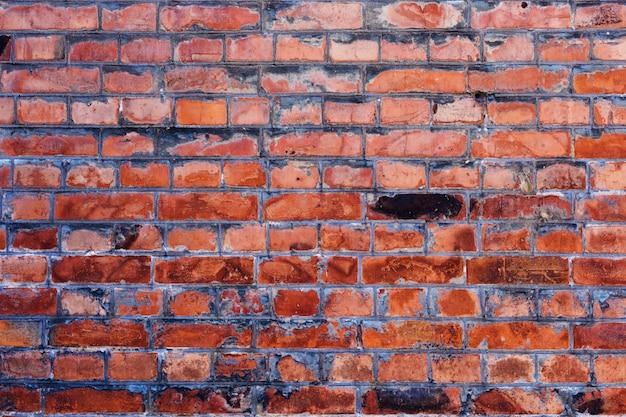 Vecchio muro di mattoni rosso vintage con cemento cuciture texture