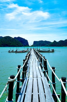 Vecchio ponte di legno nel mare.