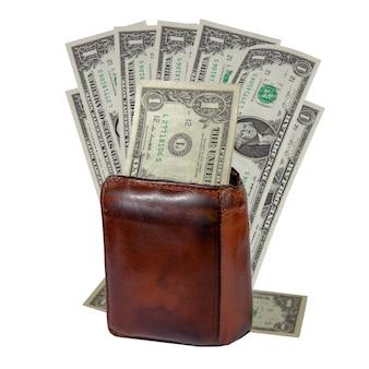 Vecchio portafoglio in pelle marrone per uomini e banconote da un dollaro