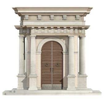 Vecchio portale in stile neoclassico isolato su bianco