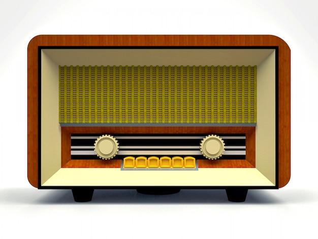 Vecchio radioricevitore a tubo vintage in legno e plastica color crema. vecchia radio della metà del 20 ° secolo. rendering 3d.