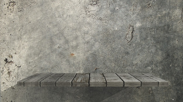 Vecchio scaffale di legno 3d su una parete del grunge