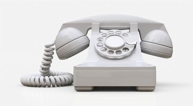 Vecchio telefono con linea bianca. rendering 3d.
