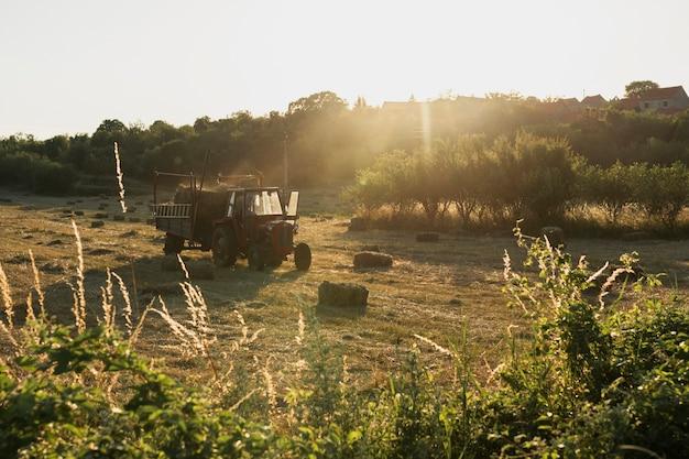 Vecchio trattore rosso che raccoglie i mucchi di fieno dal campo