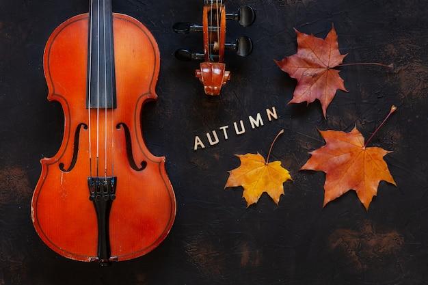 Vecchio violino con foglie d'acero autunno giallo.
