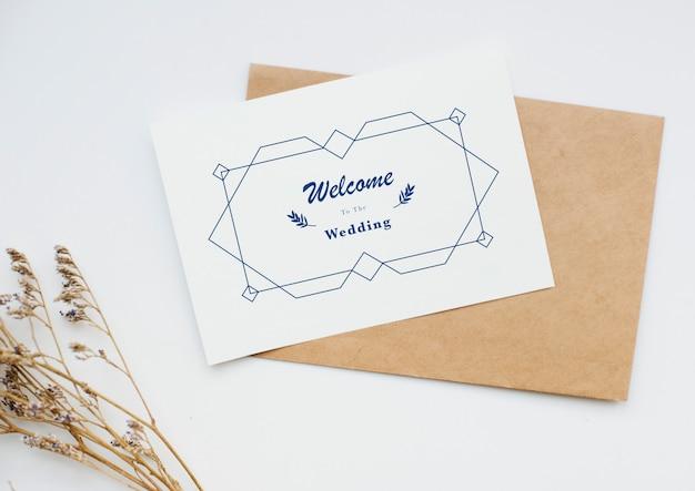 Veduta aerea della carta di invito a nozze