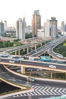 Veduta aerea di shanghai overpass