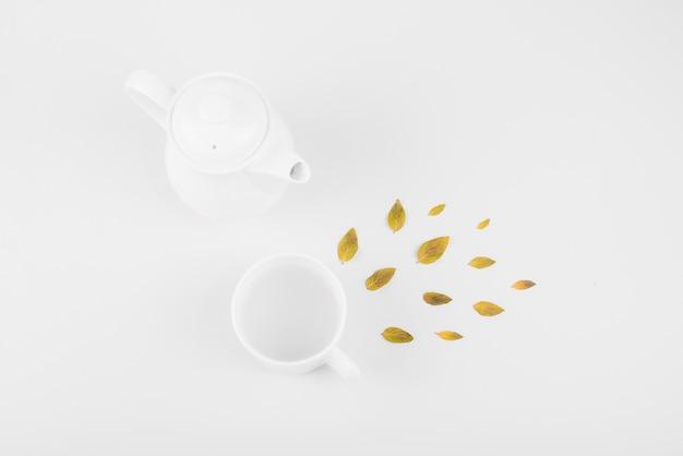 Veduta dall'alto delle foglie; tazza di tè e teiera su sfondo bianco