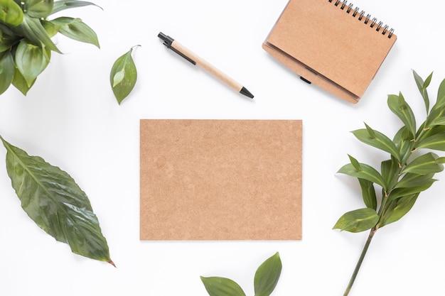 Veduta dall'alto di carte marroni vuote; le foglie; diario e penna sulla superficie bianca