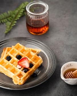 Veduta dall'alto di deliziosi waffle