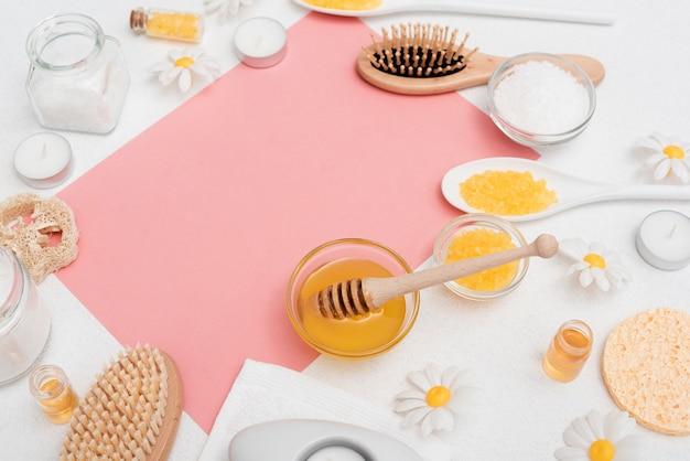 Veduta dall'alto di miele per il relax della spa