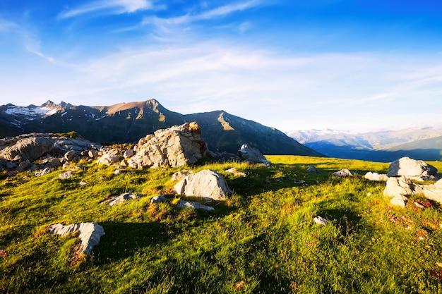Veduta estiva del prato alpino in pirenei