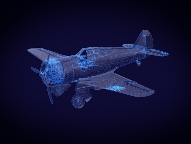 Velivolo a raggi x blu. rendering 3d