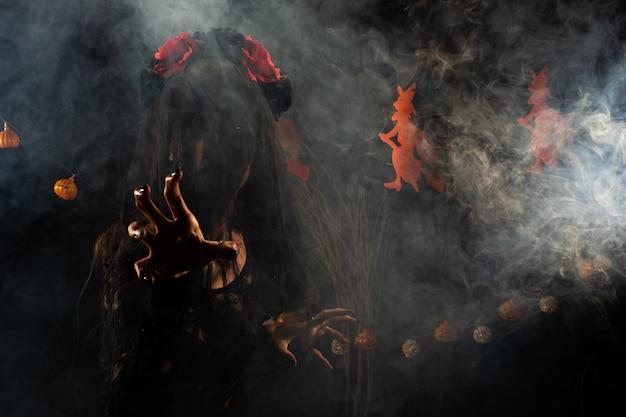 Velo della vedova nera coperchio della ragazza fantasma viso ferita fresca