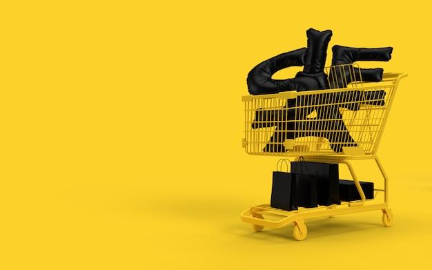 Vendita scritta con lettere di colore nero, carrello, scatola del prodotto, borsa della spesa colore nero