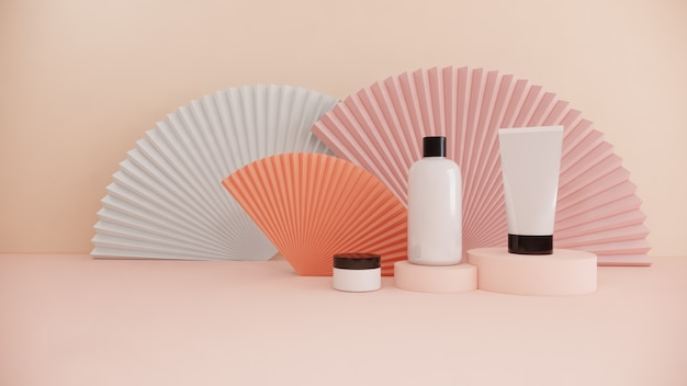 Vendita stabilita di bellezza di marca di concetto di modello del prodotto cosmetico della bottiglia su pastello, rappresentazione 3d