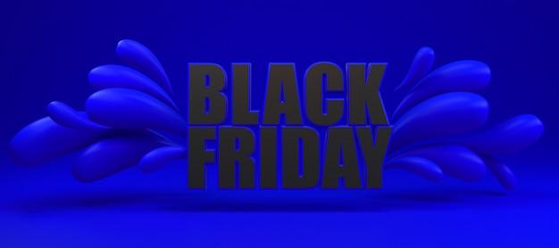 Venerdì nero lungo banner blu e nero.