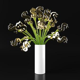 Verde dell'albero di dolar degli stati uniti, rappresentazione 3d.