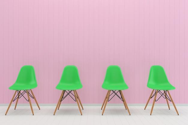 Verde sedia rosa pastello muro bianco pavimento in legno sfondo texture mouckup