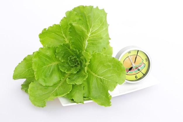 Verdura idroponica fresca sul piatto con l'orologio