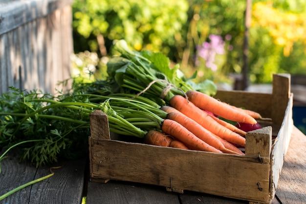 Verdure biologiche fresche in una scatola di legno. concetto di cibo crudo biologico