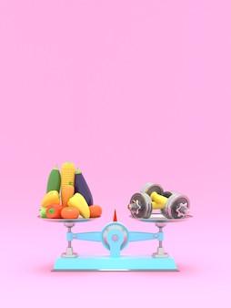 Verdure fresche e manubri su scale diverse. illustrazione concettuale con posto vuoto per il testo. rendering 3d
