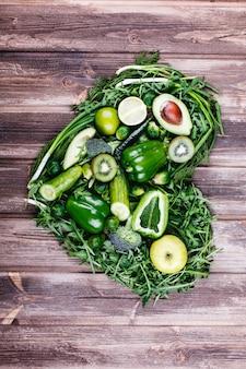 Verdure fresche, frutta e verde vita sana e cibo