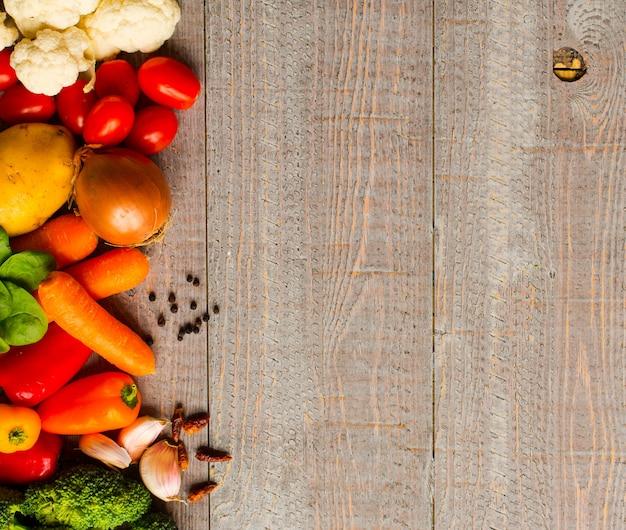 Verdure fresche sane dello spazio della copia e dell'alimento