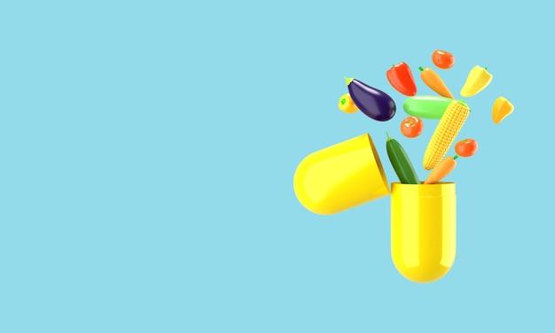 Verdure fresche volano fuori dalla pillola. illustrazione concettuale di integratori alimentari. rendering 3d.