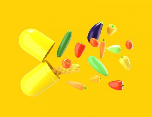 Verdure fresche volano fuori dalla pillola