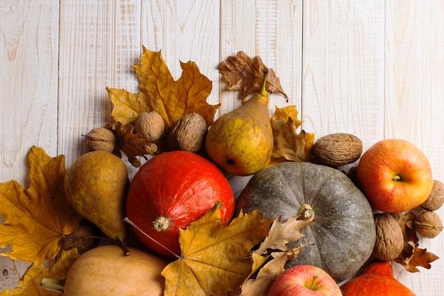 Verdure, zucche, mele, pere, noci gialle e foglie secche differenti su un fondo di legno bianco, copyspace. vendemmia