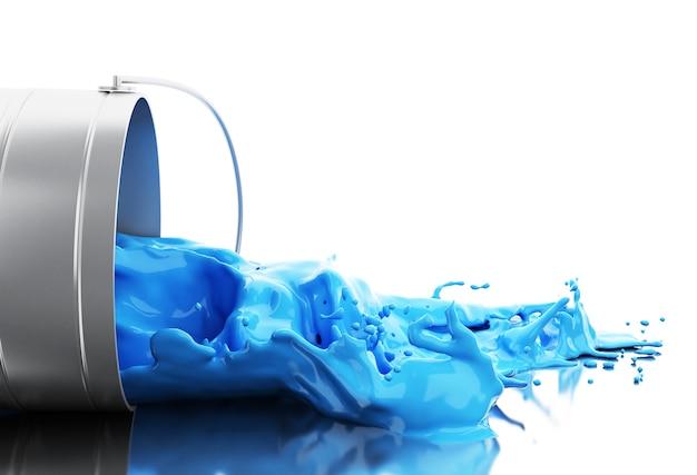 Vernice blu 3d che spruzza dalla latta