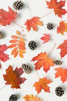 Verticale della miscela autunnale di foglie rosse e coni di abete sulla scrivania bianca