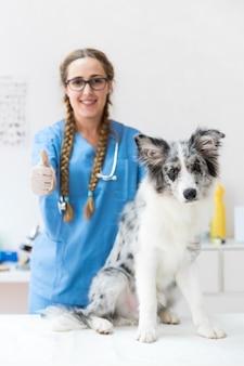 Veterinario femminile con il cane sulla tavola in clinica che mostra il segno del thumbup