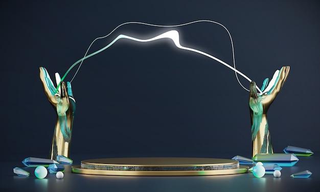 Vetrina di lusso della piattaforma della fase di eleganza astratta con le mani dell'oro e modello del lampo per la pubblicità del prodotto, rappresentazione 3d.