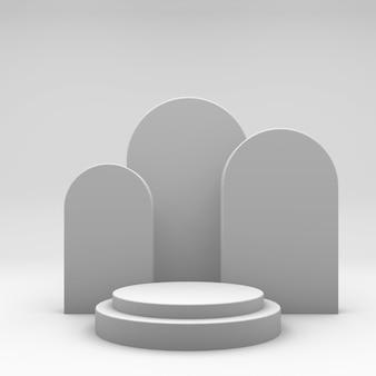 Vetrina minimalista con spazio vuoto. design per la presentazione del prodotto in stile alla moda. rendering 3d.