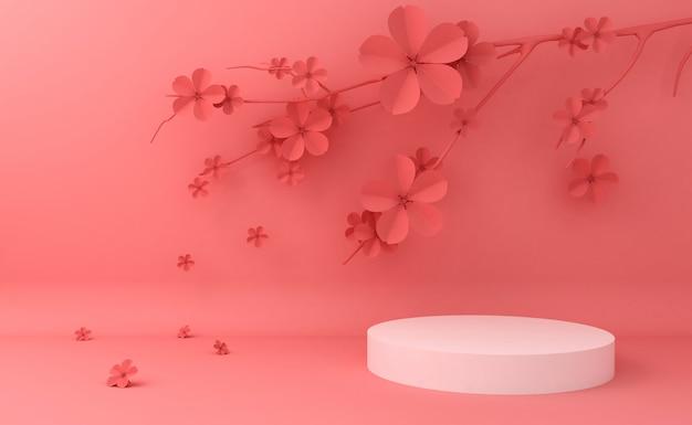 Vetrina vuota sul podio per la presentazione di prodotti cosmetici. rendering 3d