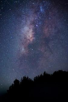 Via lattea. fantastico paesaggio notturno con via lattea viola, cielo pieno di stelle, stelle lucenti.
