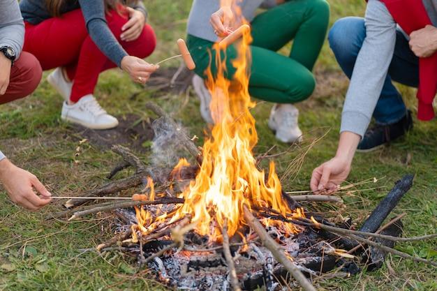 Viaggi, turismo, escursioni, picnic e persone - gruppo di amici felici che friggono salsicce sul fuoco