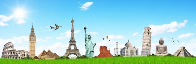 Viaggia nel concetto di monumenti del mondo